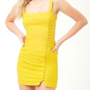 Forever 21 Yellow Button-front Mini Dress
